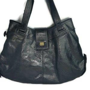Kooba Black Leather Snakeskin Shoulder Bag